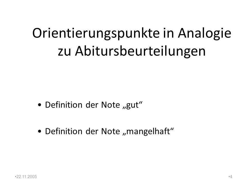 Orientierungspunkte in Analogie zu Abitursbeurteilungen
