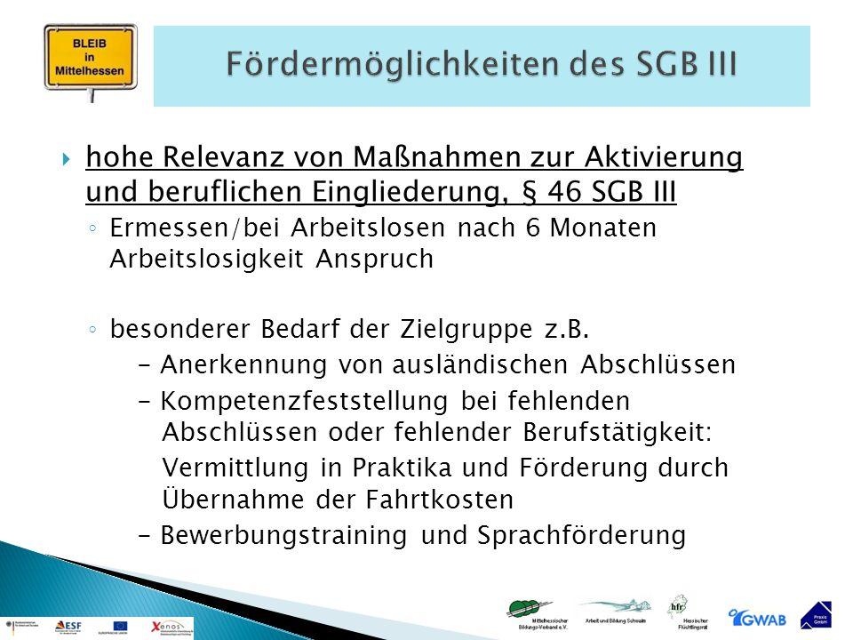 Fördermöglichkeiten des SGB III