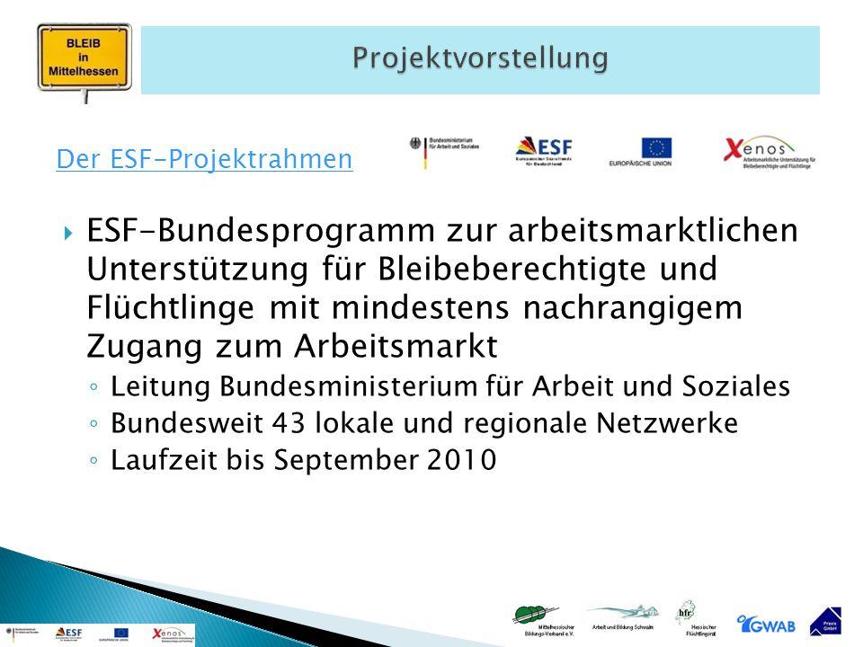 Projektvorstellung Der ESF-Projektrahmen.