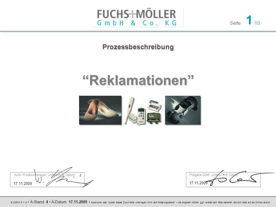 Reklamationen Prozessbeschreibung 17.11.2009 17.11.2009