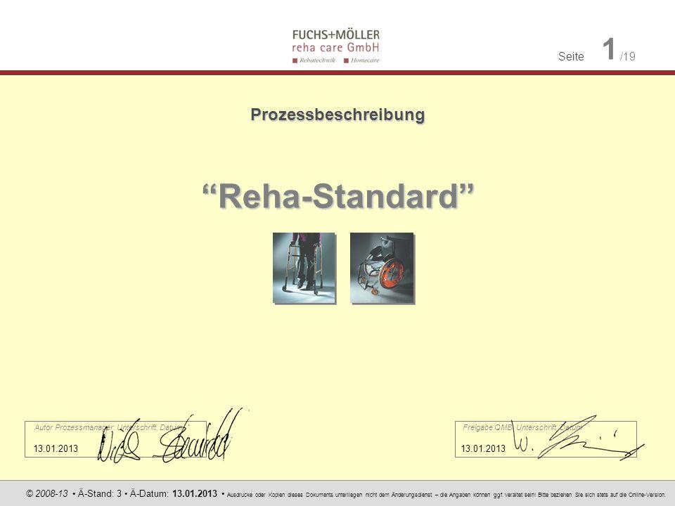 Reha-Standard Prozessbeschreibung 13.01.2013 13.01.2013