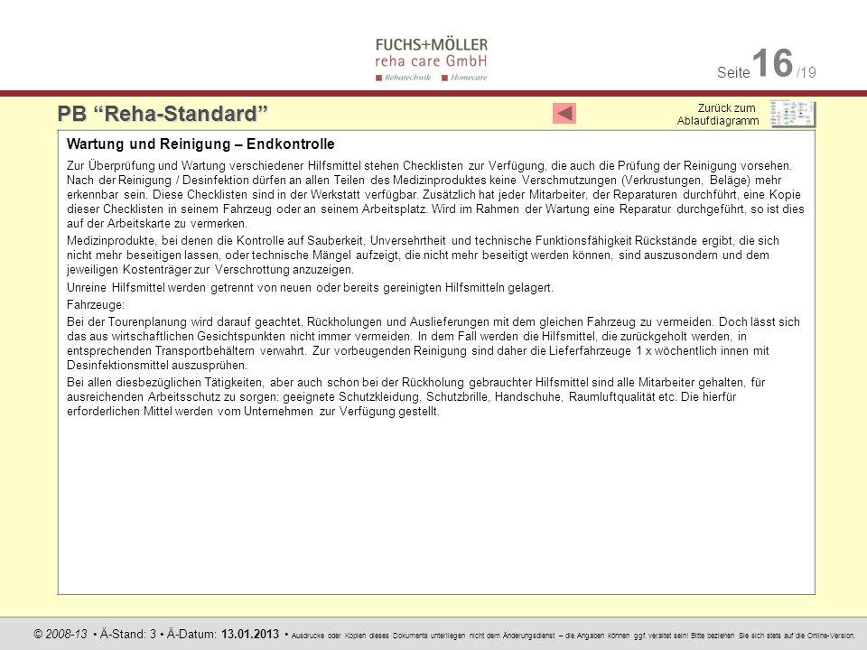 PB Reha-Standard Wartung und Reinigung – Endkontrolle