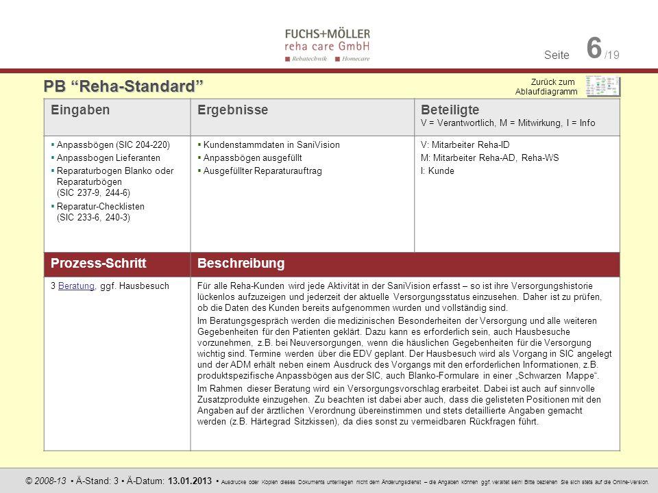 PB Reha-Standard Eingaben Ergebnisse