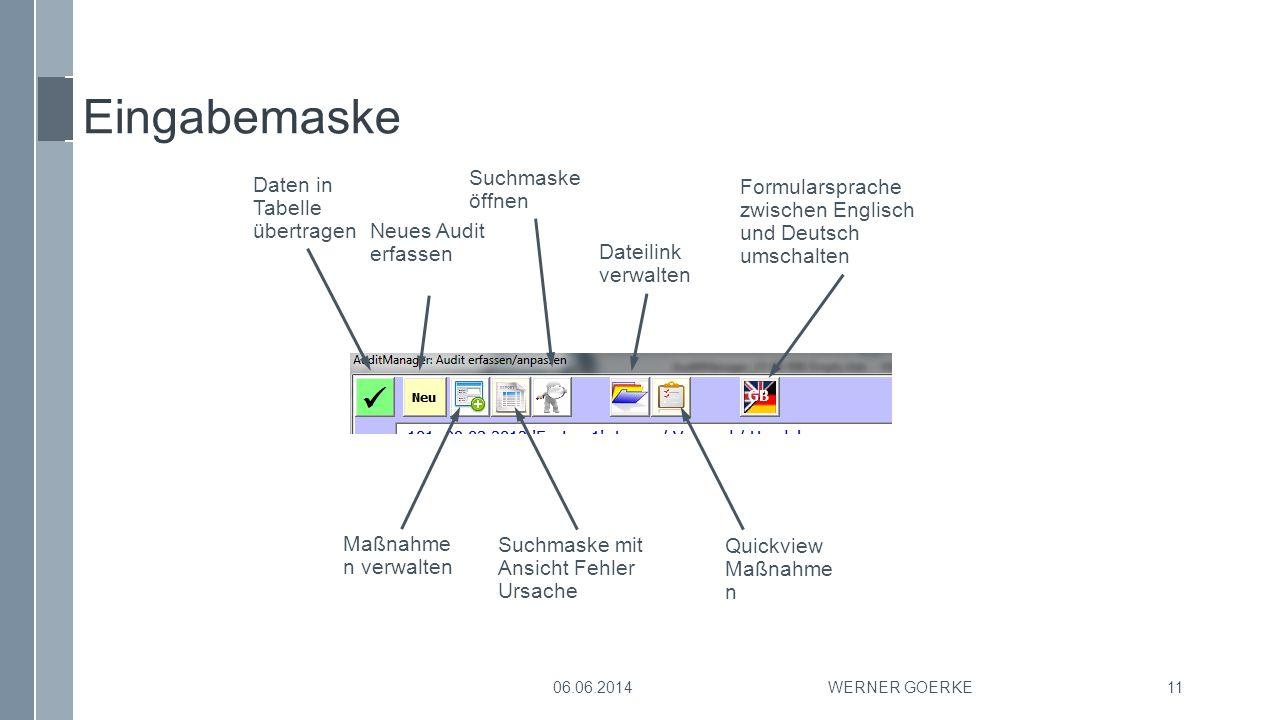 Eingabemaske Suchmaske Daten in Tabelle übertragen öffnen