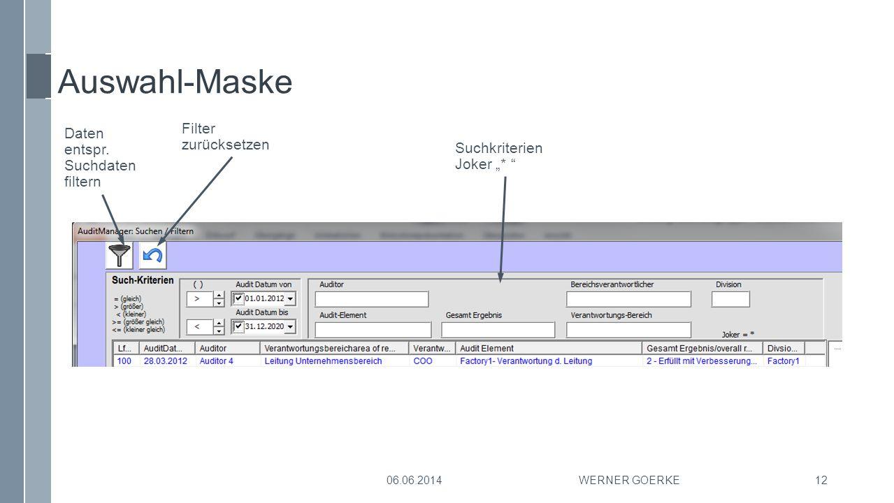 Auswahl-Maske Filter zurücksetzen Daten entspr. Suchdaten filtern