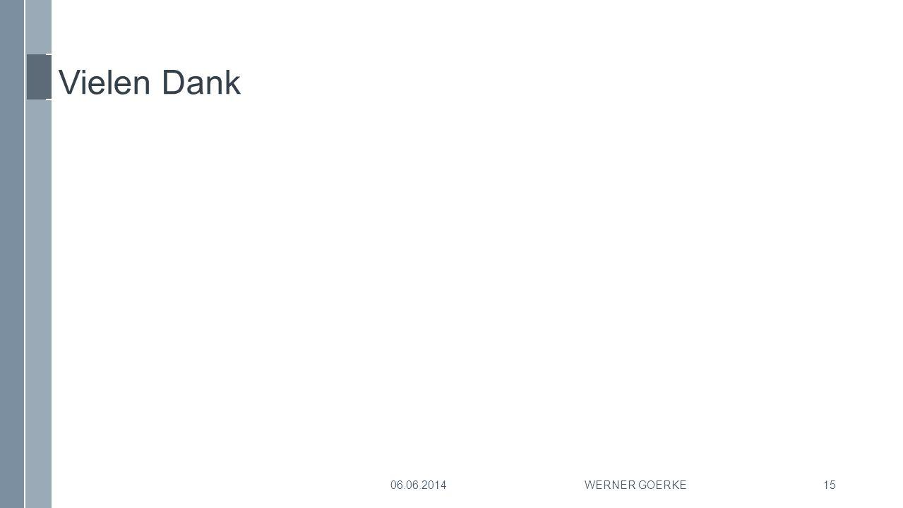 Vielen Dank 06.06.2014 Werner Goerke