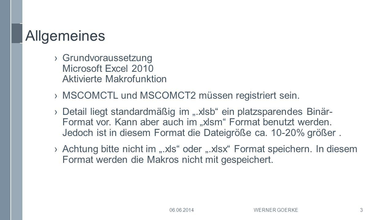 Allgemeines Grundvoraussetzung Microsoft Excel 2010 Aktivierte Makrofunktion. MSCOMCTL und MSCOMCT2 müssen registriert sein.