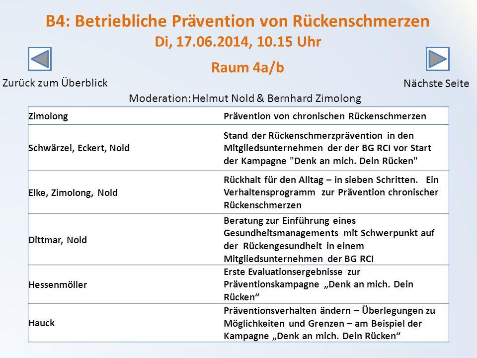 B4: Betriebliche Prävention von Rückenschmerzen Di, 17. 06. 2014, 10