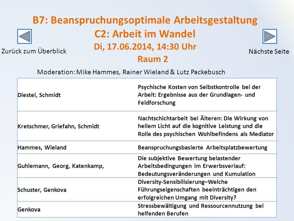 B7: Beanspruchungsoptimale Arbeitsgestaltung C2: Arbeit im Wandel Di, 17.06.2014, 14:30 Uhr