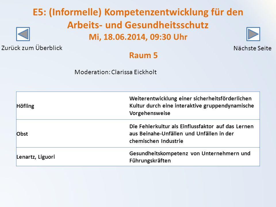 E5: (Informelle) Kompetenzentwicklung für den Arbeits- und Gesundheitsschutz Mi, 18.06.2014, 09:30 Uhr