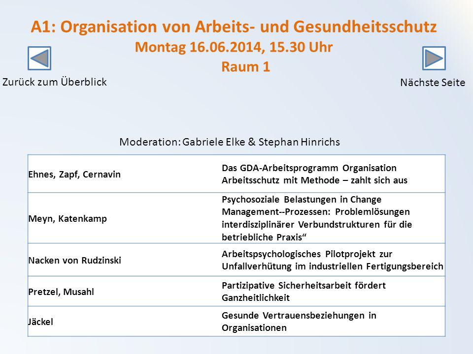 A1: Organisation von Arbeits- und Gesundheitsschutz Montag 16. 06
