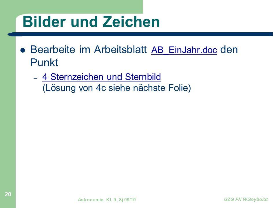 Bilder und Zeichen Bearbeite im Arbeitsblatt AB_EinJahr.doc den Punkt