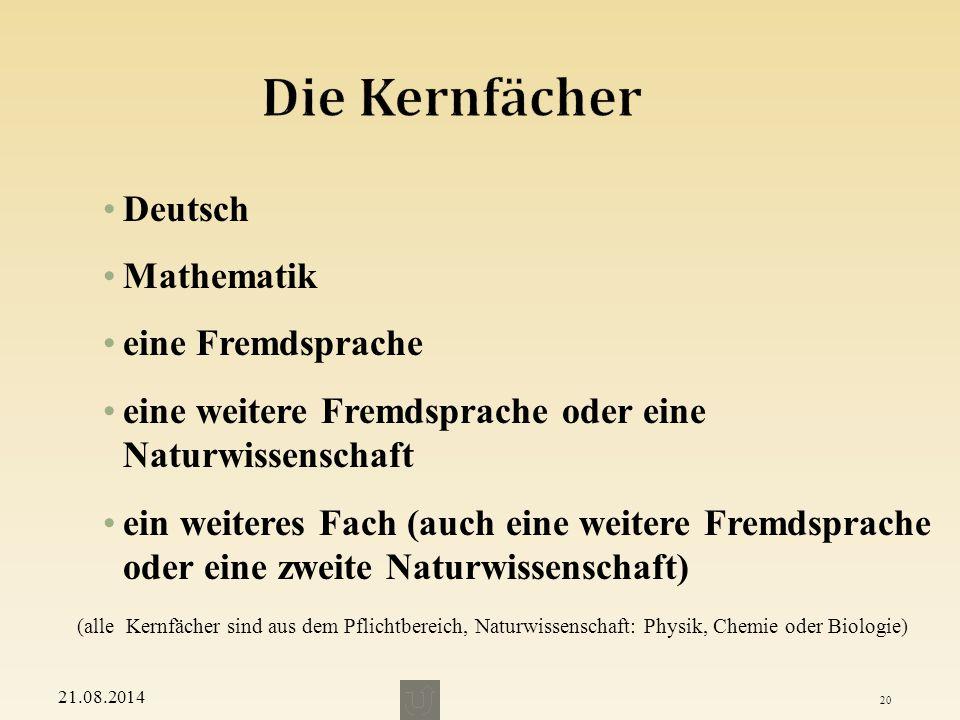 Die Kernfächer Deutsch Mathematik eine Fremdsprache