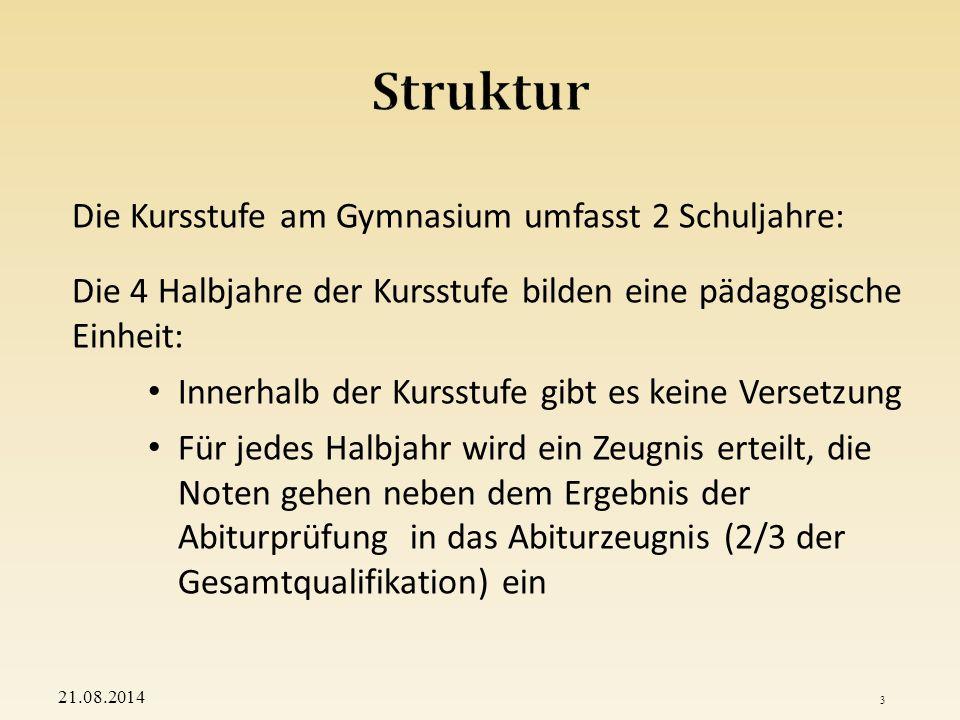 Struktur Die Kursstufe am Gymnasium umfasst 2 Schuljahre: