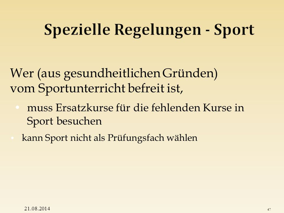 Spezielle Regelungen - Sport