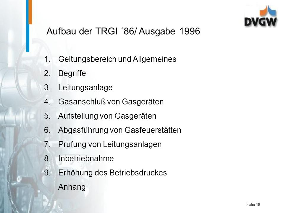 Aufbau der TRGI ´86/ Ausgabe 1996