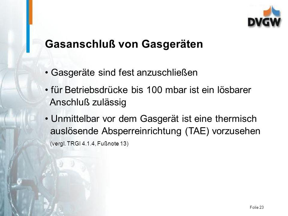 Gasanschluß von Gasgeräten