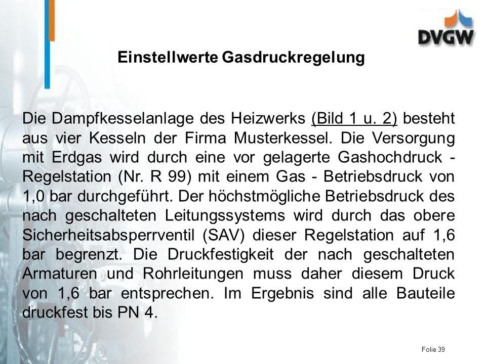 Einstellwerte Gasdruckregelung