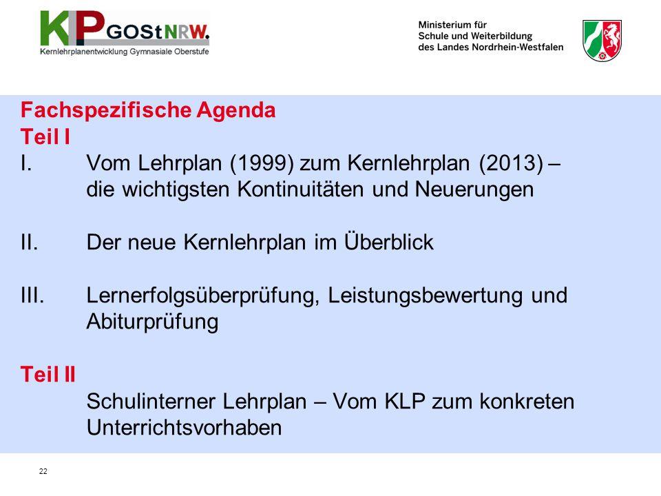 Fachspezifische Agenda Teil I I
