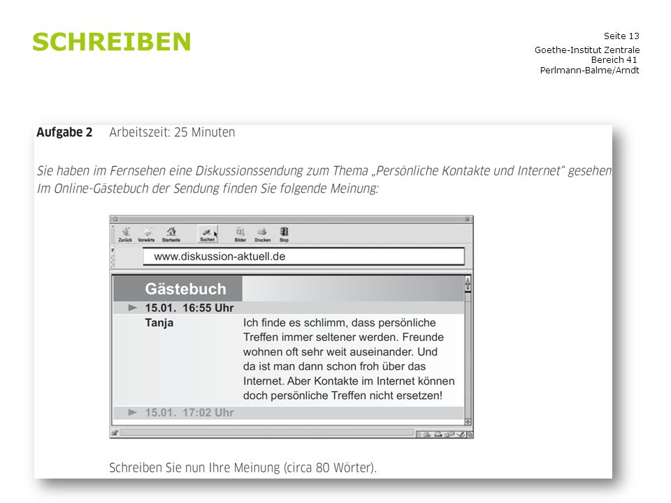 Schreiben Goethe-Institut Zentrale Bereich 41 Perlmann-Balme/Arndt
