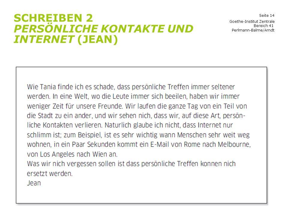 Schreiben 2 Persönliche Kontakte und Internet (Jean)