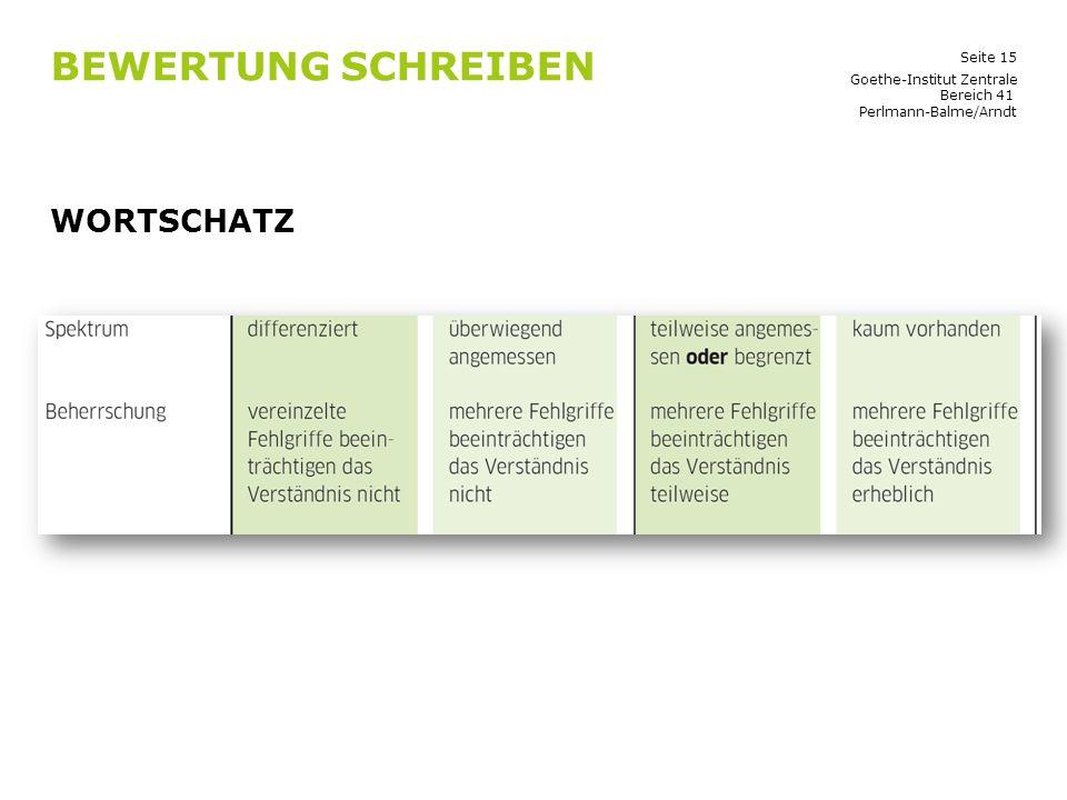 Bewertung Schreiben Wortschatz Goethe-Institut Zentrale Bereich 41