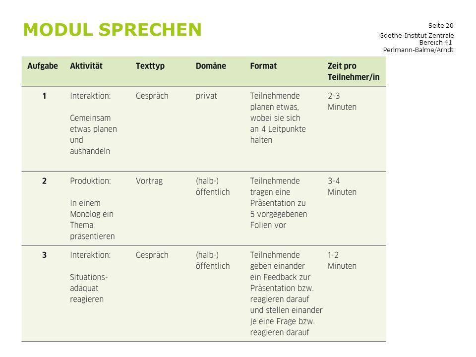 Modul Sprechen Goethe-Institut Zentrale Bereich 41