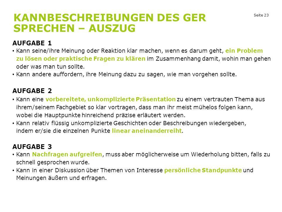 Kannbeschreibungen des GER Sprechen – Auszug