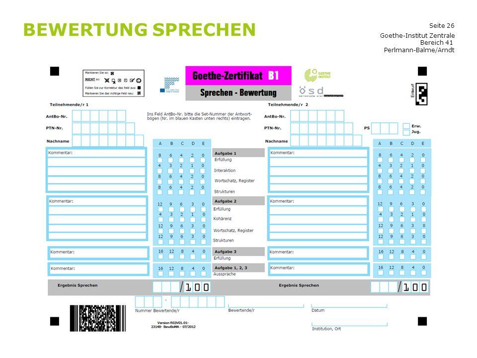 Bewertung Sprechen Goethe-Institut Zentrale Bereich 41