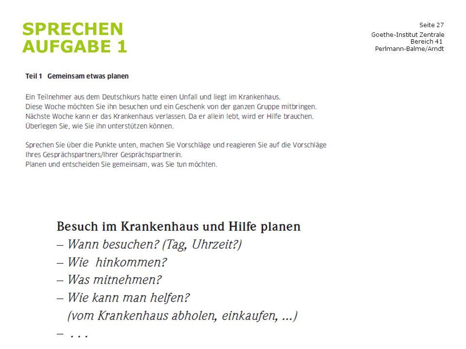 Sprechen Aufgabe 1 Goethe-Institut Zentrale Bereich 41