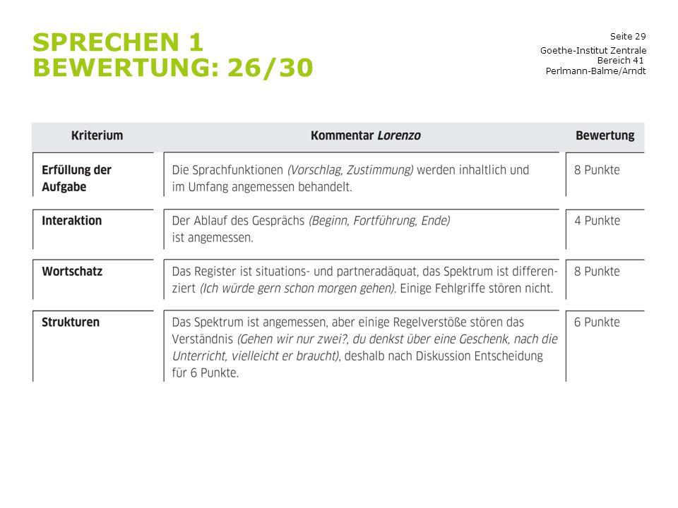Sprechen 1 Bewertung: 26/30 Goethe-Institut Zentrale Bereich 41