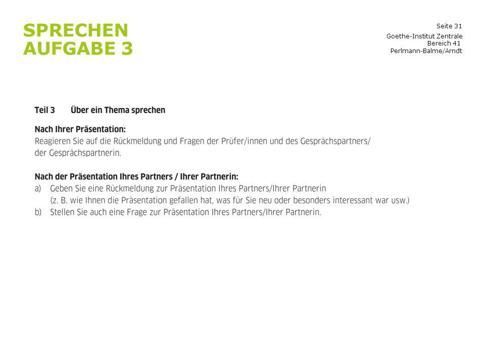 Sprechen Aufgabe 3 Goethe-Institut Zentrale Bereich 41