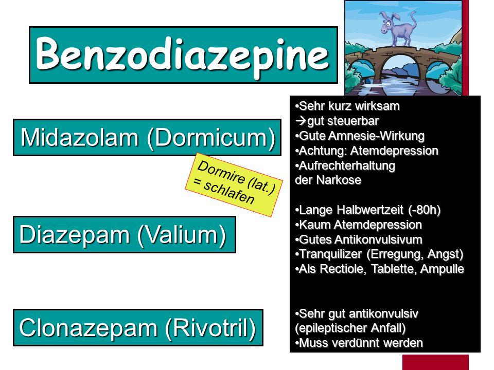 Benzodiazepine Midazolam (Dormicum) Diazepam (Valium)