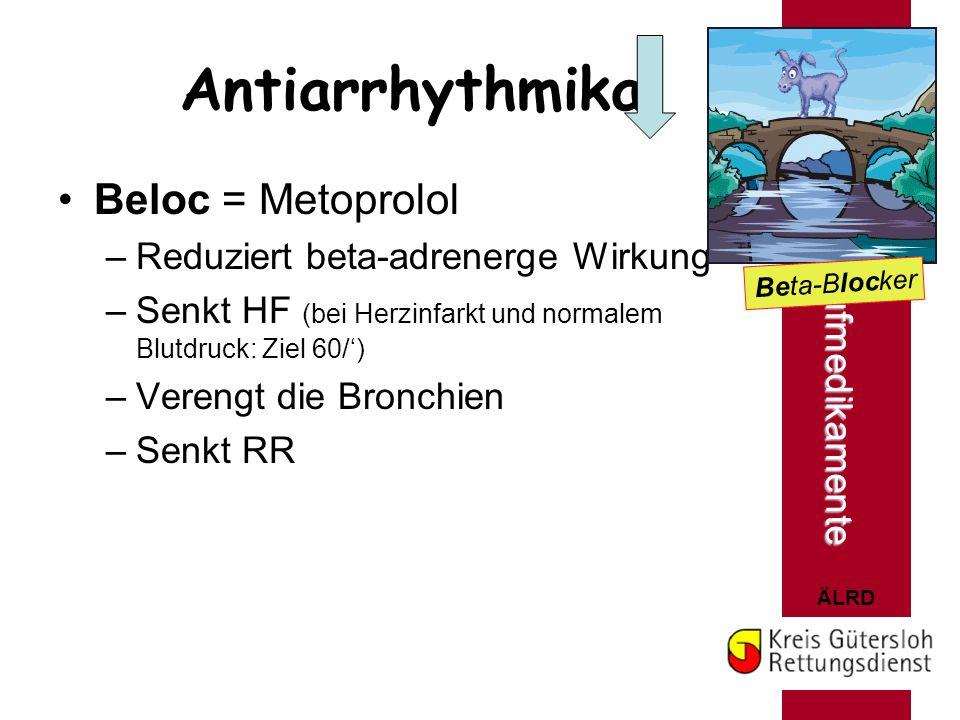 Antiarrhythmika Beloc = Metoprolol Herz- u. Kreislaufmedikamente