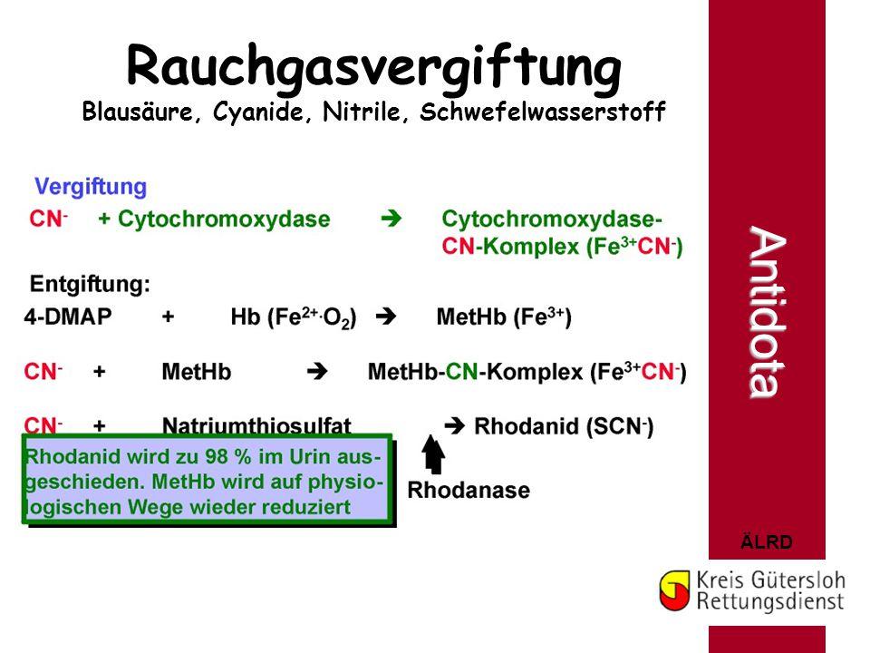 Rauchgasvergiftung Blausäure, Cyanide, Nitrile, Schwefelwasserstoff