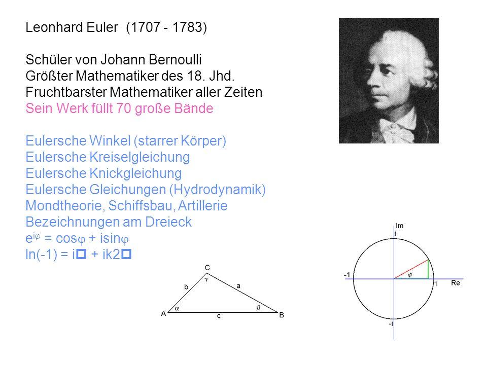 Leonhard Euler (1707 - 1783) Schüler von Johann Bernoulli. Größter Mathematiker des 18. Jhd. Fruchtbarster Mathematiker aller Zeiten.