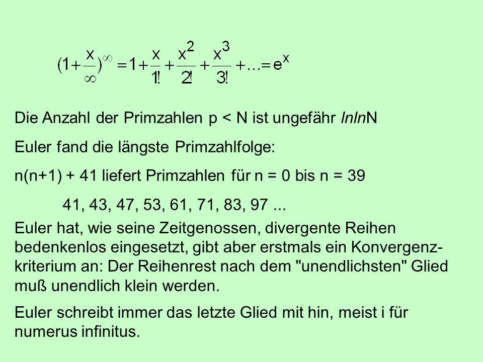 Die Anzahl der Primzahlen p < N ist ungefähr lnlnN
