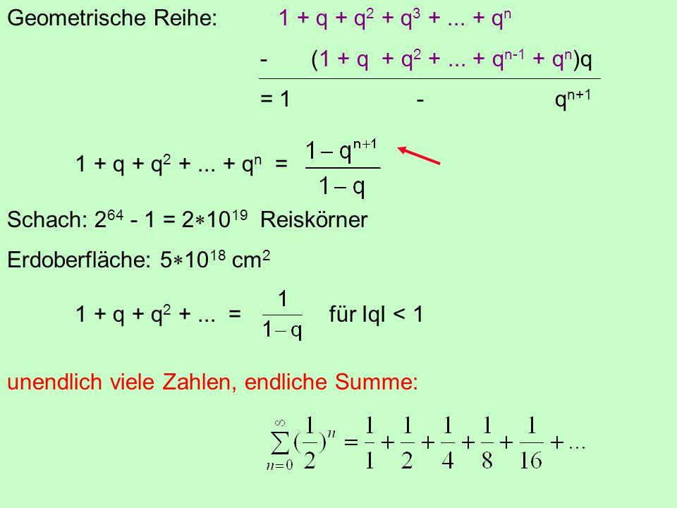 Geometrische Reihe: 1 + q + q2 + q3 + ... + qn