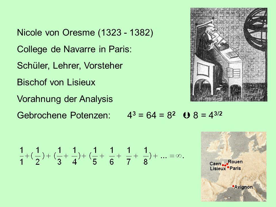 Nicole von Oresme (1323 - 1382) College de Navarre in Paris: Schüler, Lehrer, Vorsteher. Bischof von Lisieux.