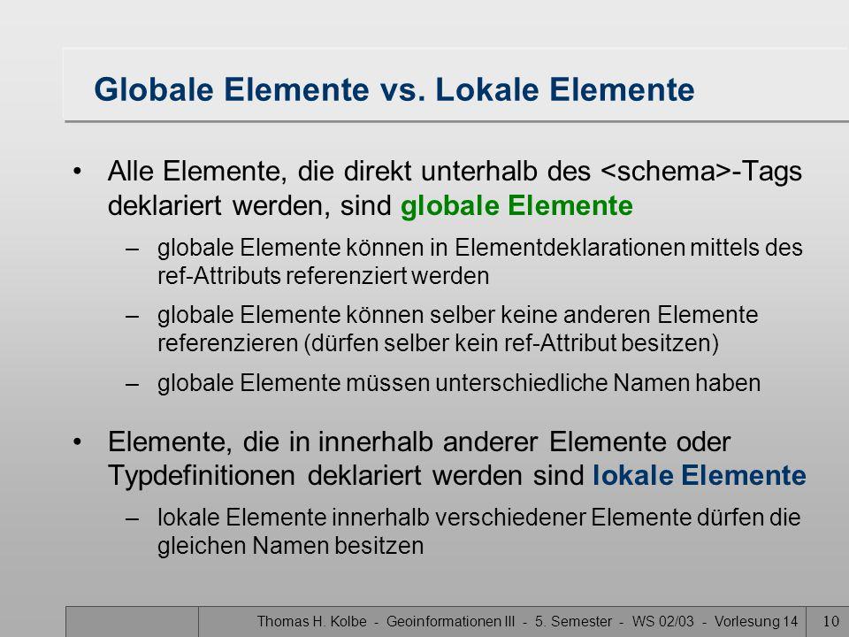 Globale Elemente vs. Lokale Elemente