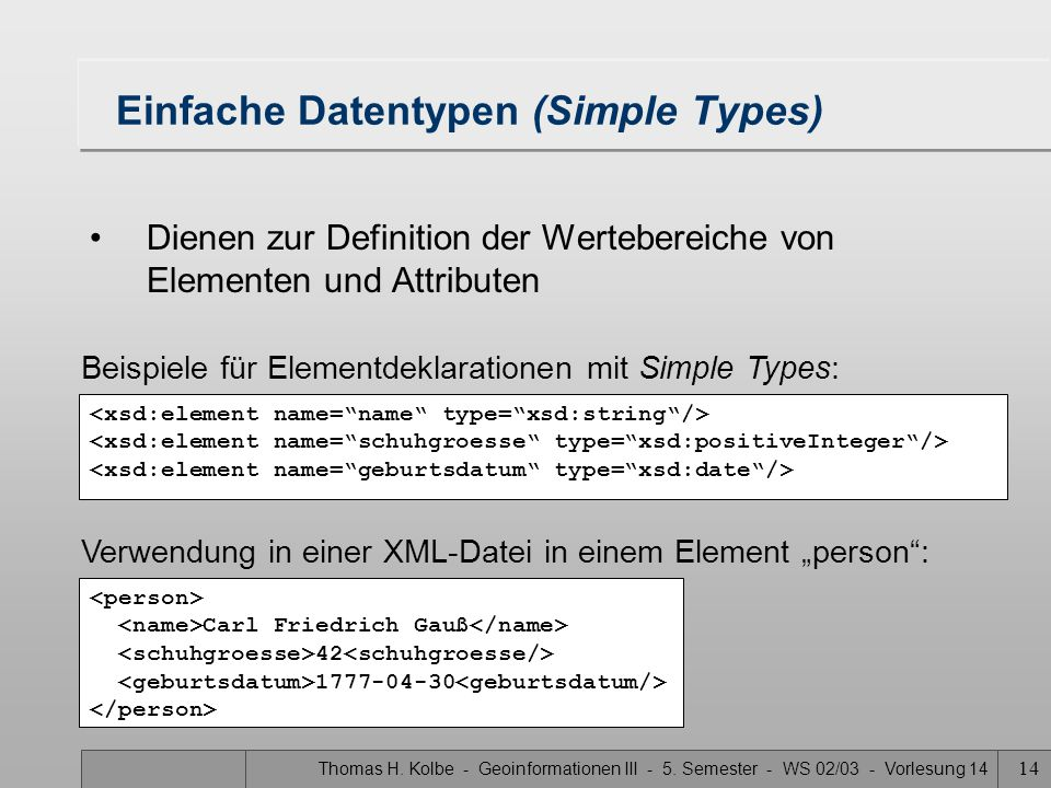 Einfache Datentypen (Simple Types)