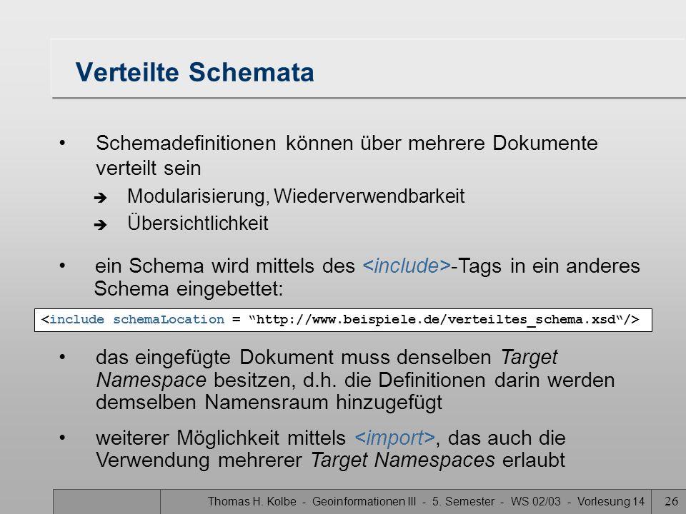 Verteilte Schemata Schemadefinitionen können über mehrere Dokumente verteilt sein. Modularisierung, Wiederverwendbarkeit.