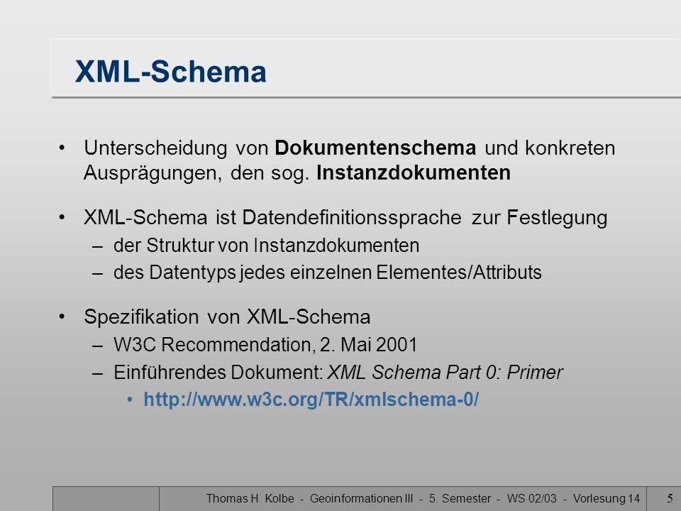 XML-Schema Unterscheidung von Dokumentenschema und konkreten Ausprägungen, den sog. Instanzdokumenten.