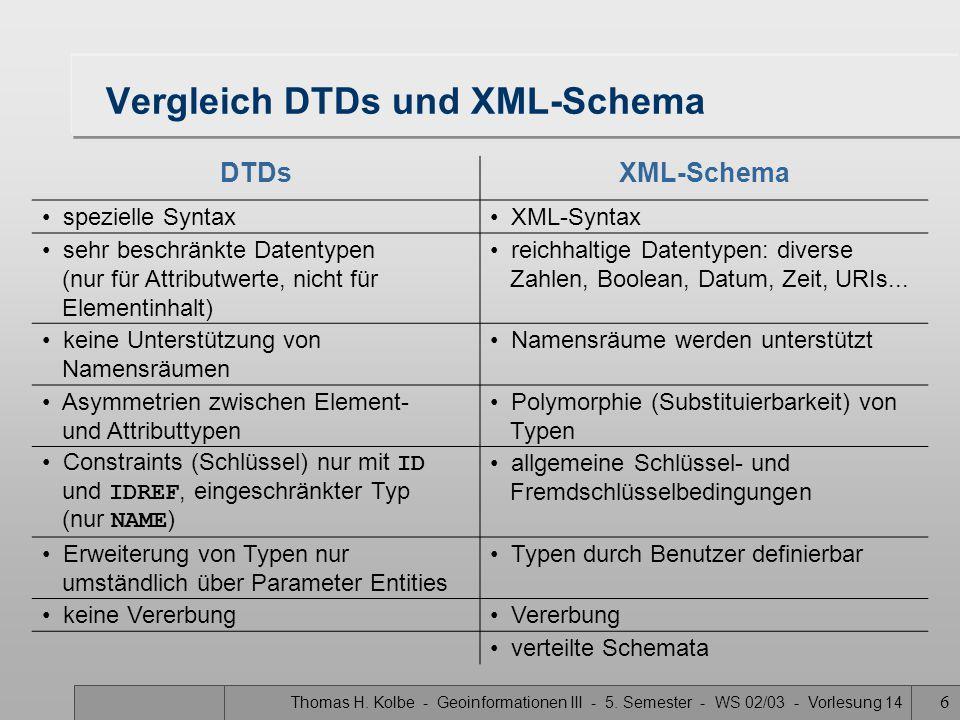 Vergleich DTDs und XML-Schema