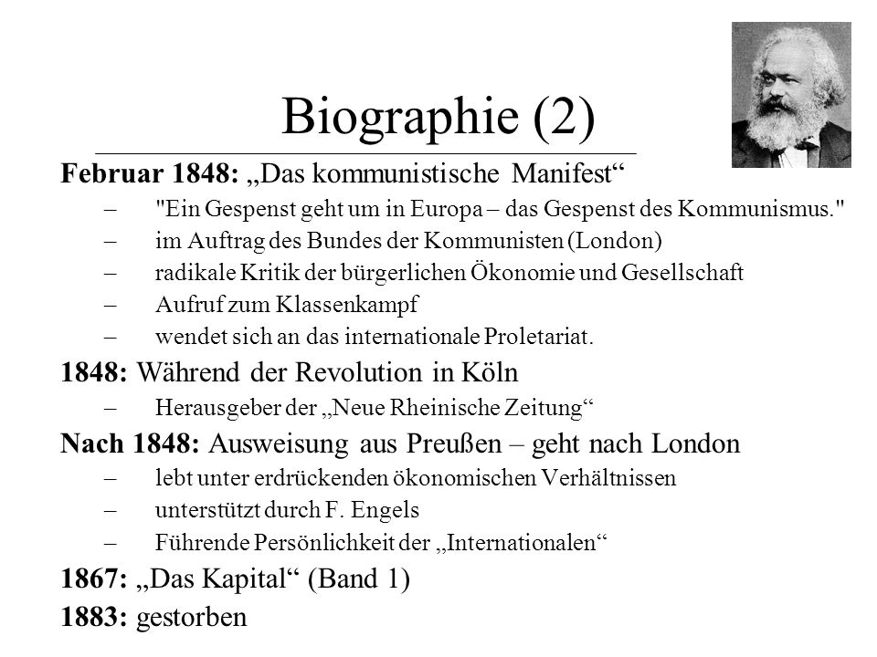 """Biographie (2) Februar 1848: """"Das kommunistische Manifest"""