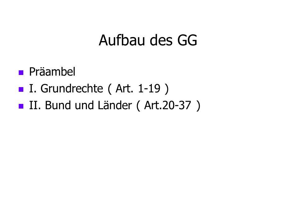 Aufbau des GG Präambel I. Grundrechte ( Art. 1-19 )