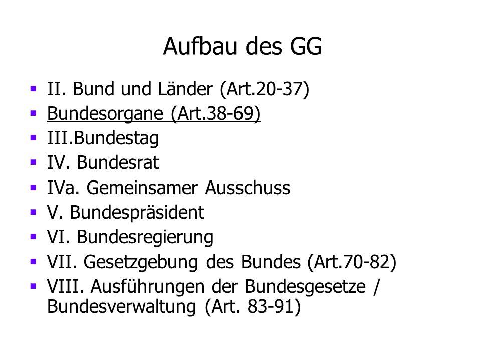 Aufbau des GG II. Bund und Länder (Art.20-37) Bundesorgane (Art.38-69)