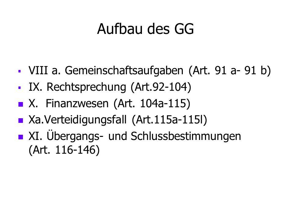 Aufbau des GG VIII a. Gemeinschaftsaufgaben (Art. 91 a- 91 b)