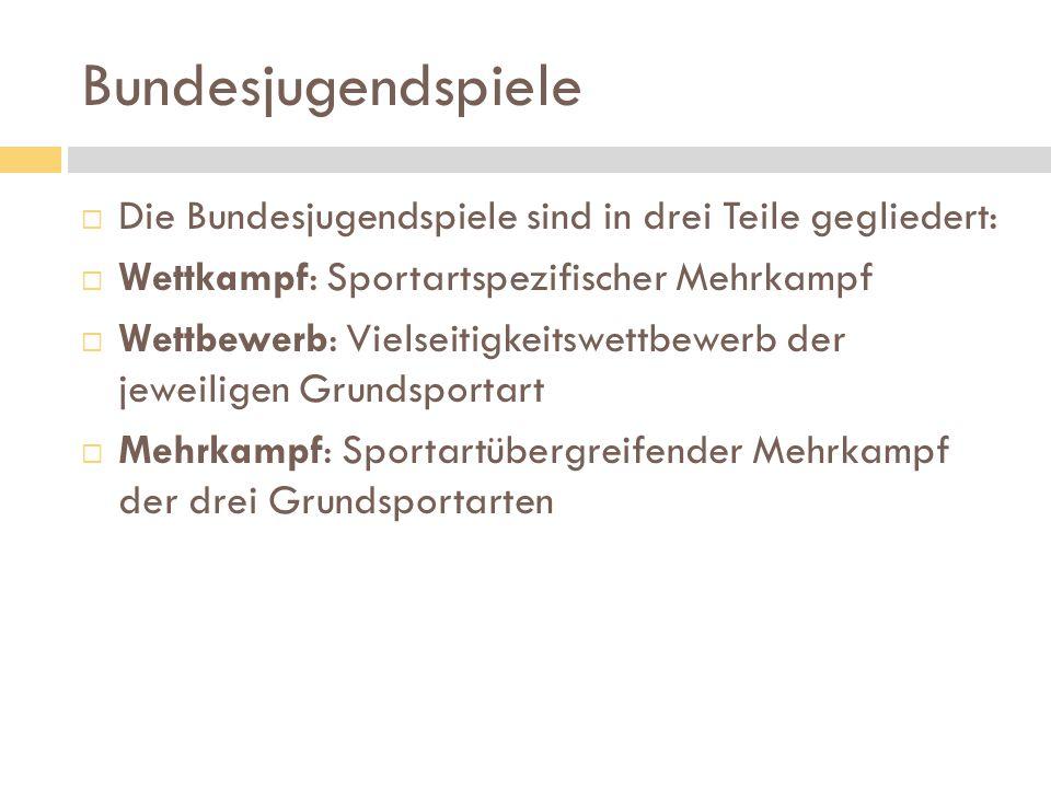 Bundesjugendspiele Die Bundesjugendspiele sind in drei Teile gegliedert: Wettkampf: Sportartspezifischer Mehrkampf.