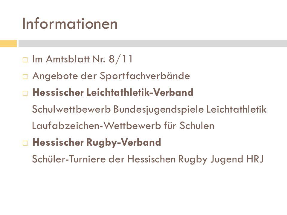 Informationen Im Amtsblatt Nr. 8/11 Angebote der Sportfachverbände